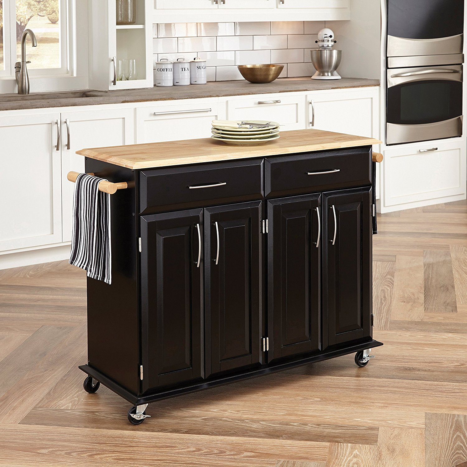 Home Styles   Solid Wood Top Kitchen Cart Natural Finish